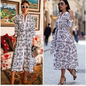 Zara tunic embroided contrast belted midi dress